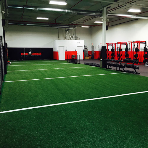 Agility Turf Rolls with White Inlaid Yard Markers for Gyms