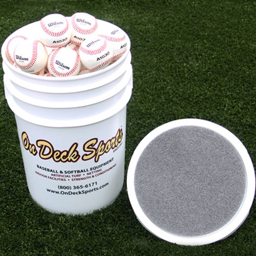 On Deck Sports Ball Bucket With Padded Lid for Baseballs and Softballs