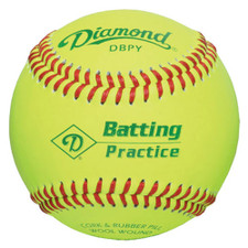 One Dozen Yellow Diamond Batting Practice Baseballs