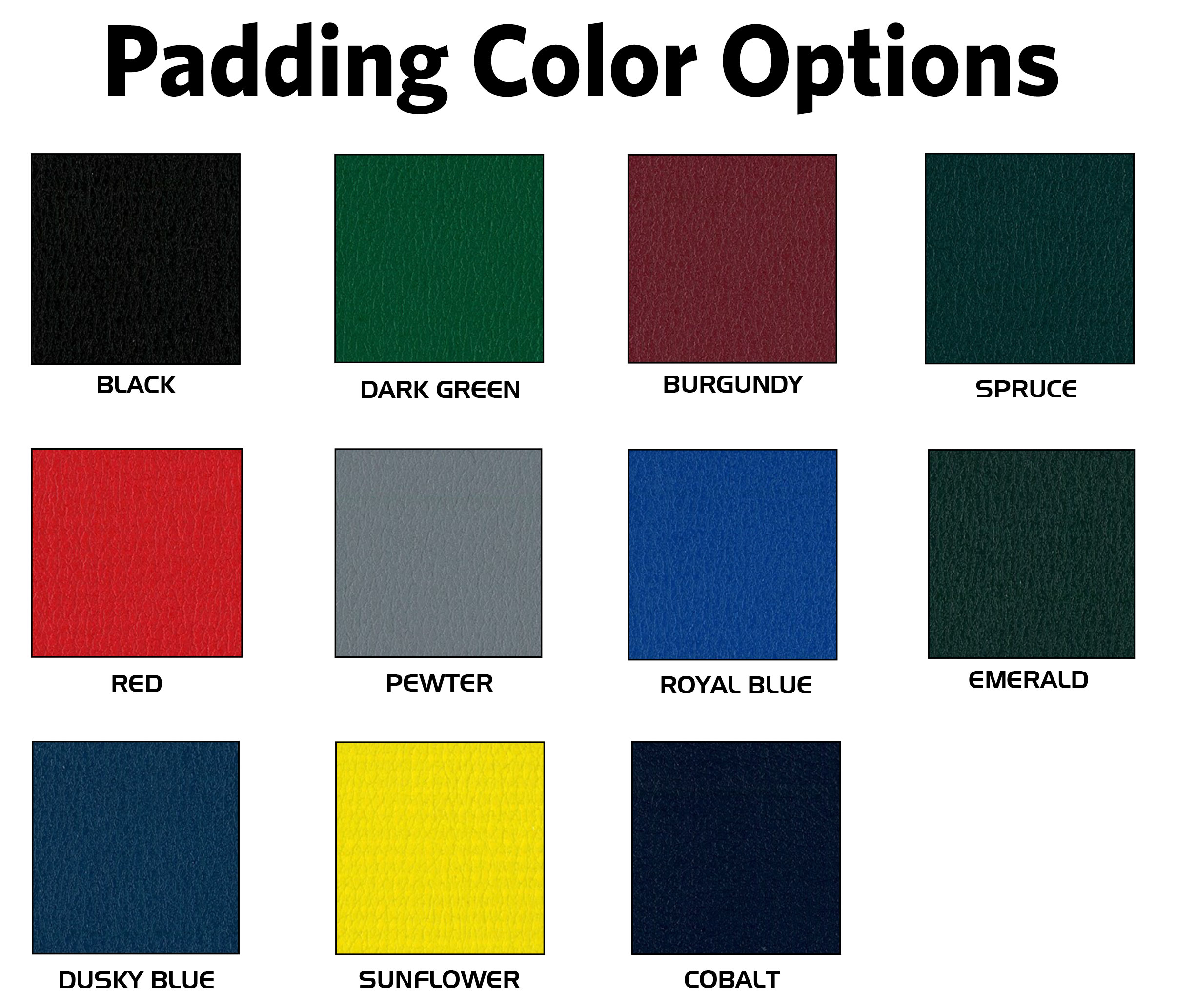 Railing and Post Padding Color Chart
