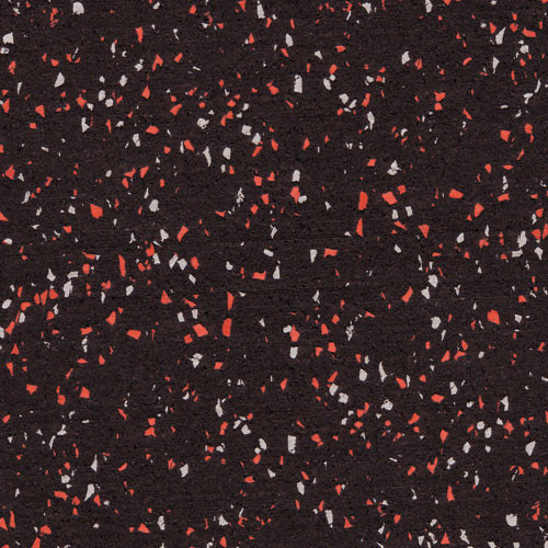 Rubber Flooring Roll with Red and Gray Fleck - 8mm