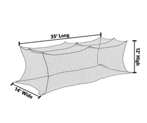 12' x 14' x 35' Premium Nylon Batting Cage Net