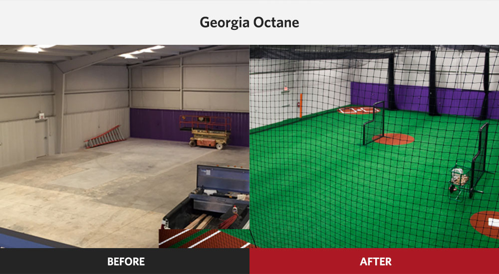 Georgia Indoor Baseball Facility Design before and after