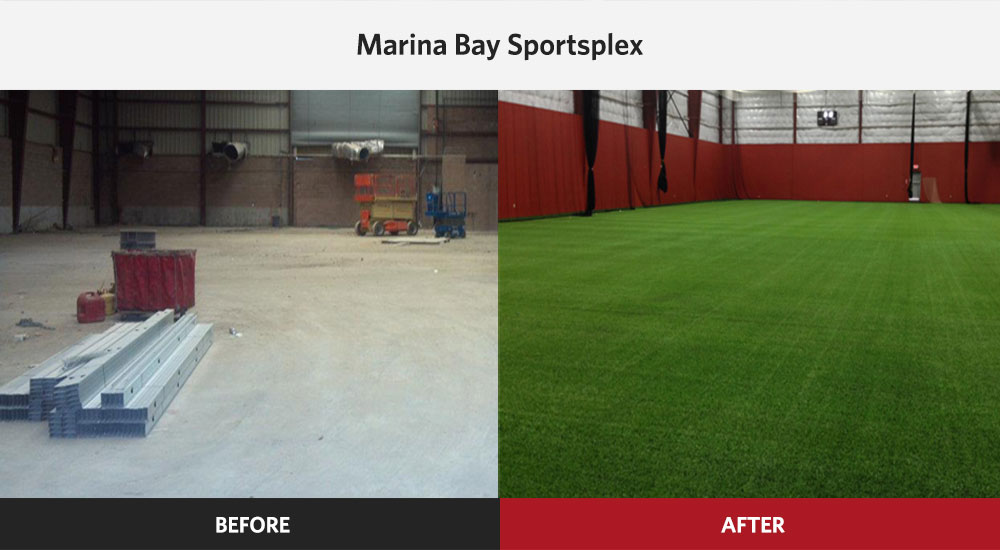 Marina Bay Sportsplex Multidport Facility before and after