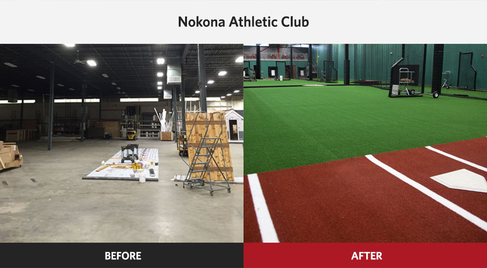Nokona Athletic Club Baseball & Softball Facility before and after