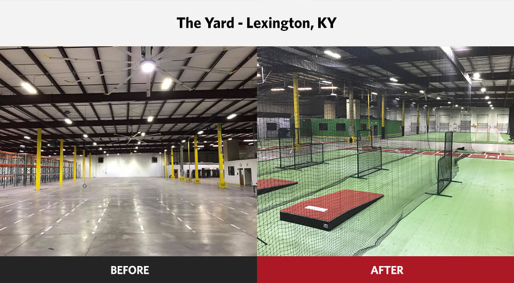 The Yard Baseball Facility before and after