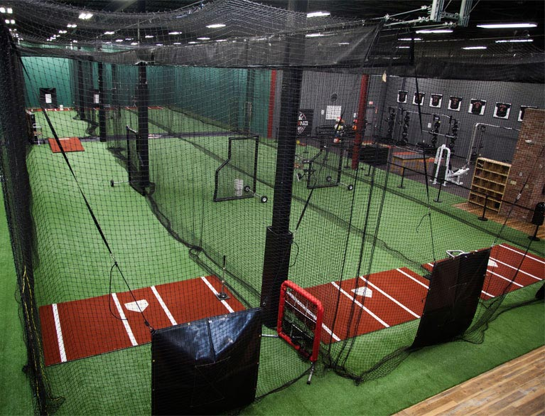 Indoor batting cages for baseball softball on deck sports for Design indoor baseball facility
