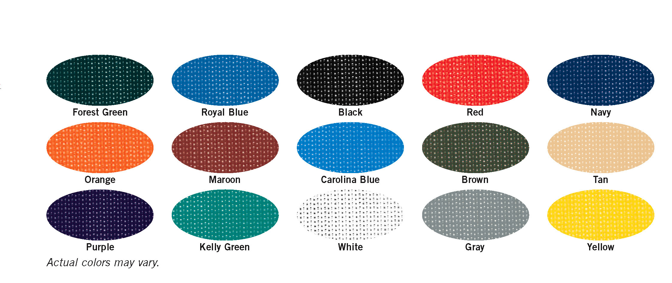 Standard Mesh Color Chart