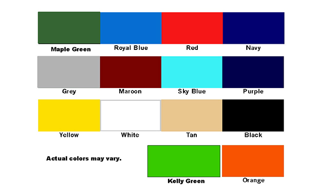 Storage Cover Color Chart